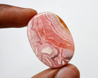 63 Cts Natural Top Quality Pink Rhodochrosite Gemstone Loose Cabochon Oval Shape 35x25x5.5 MM R10387