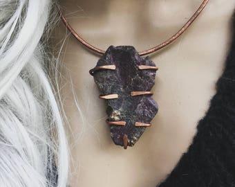 Purpurite necklace | purple stone, raw stone necklace, raw crystal necklace, Purple purpurite, rustic necklace, copper necklace