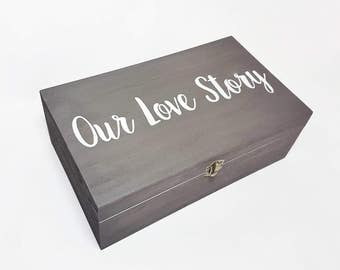 Our Love Story Memory Box - Wooden Box - Proposal Gift - Gift for Fiance - Anniversary Keepsake Box - Boyfriend Girlfriend Gift - Grey box