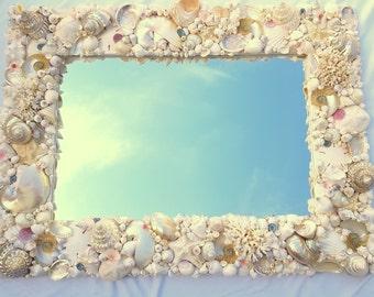 Beach Decor Seashell Mirror, Nautical Decor Custom Shell Mirror, Seashell Wall Mirror, Shell Wall Mirror, Luxury Coastal Decor Mirror #CMLUX