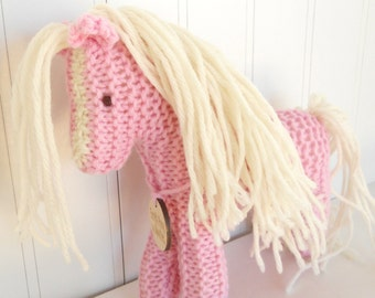 Pink Pony Waldorf Toy Earth pony  Childrens Toy Stuffed Animal Horse hand knit plush natural ecokids toy