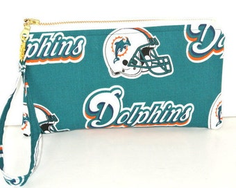 Miami Dolphins Purse, Small Wristlet, Clutch with a removable strap