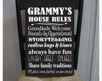Grammy's House Rules for Grandchildren with love Grandmother  Handpainted Wood Sign 16 x 10.5