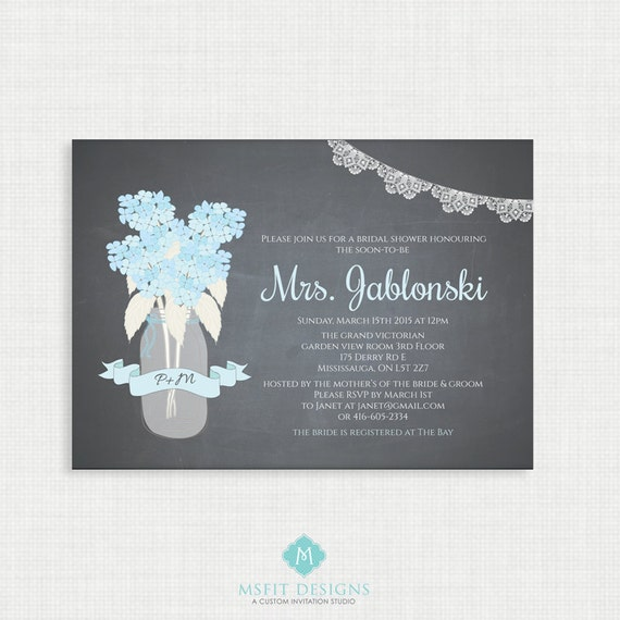 Printable Wedding Shower Invitation- Hydrangea Bridal Shower - Rustic Bridal Shower - Lace and flowers