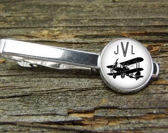 Airplane Monogram Vintage Aviation Tie Clip-Silver or Gold-Weddings-Gift Box-Handmade-Wedding-Keepsake-Groom-Groomsmen-Men Gift-Pilot-Flying