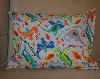 Travel Pillow Case / Child Pillow Case Colorful FIRE BREATHING DRAGONS / Dragon Pillowcase