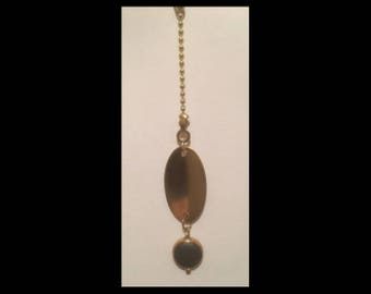 Ceiling Fan or Lamp Pull - Brass oval with teal drop