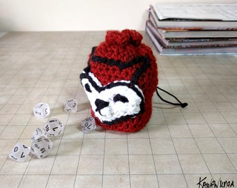 girl's drawstring purse, Fox Bag, cute pouch, dice bag, LARP RPG, Kawaii, gift for her, birthday gift, Tabletop Gaming, dungeons and dragons
