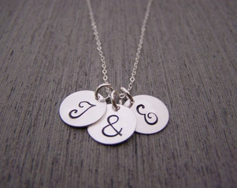 Two Initial Three Disc Ampersand Hand Stamped Personalized Sterling SIlver Necklace / Gift for Her