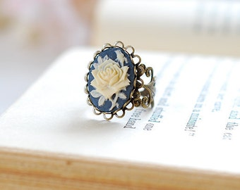 Navy Blue Ivory Rose Cameo Ring, Victorian Style Antique Brass Filigree Adjustable Ring, Cocktail Ring, Valentine's Day gift for her