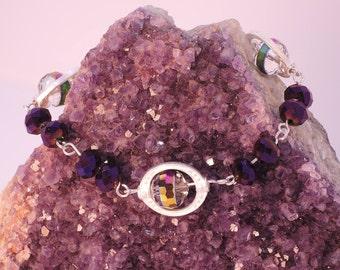 The Sutton Hoo Bracelet in Purple Iris and Clear/Purple Aurora Borealis Glass Beads