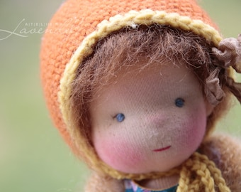 """Anita OOAK Waldorf Inspired Doll by Atelier Lavendel Natural Fibers Doll Cloth Doll 9"""" ECO friendly"""
