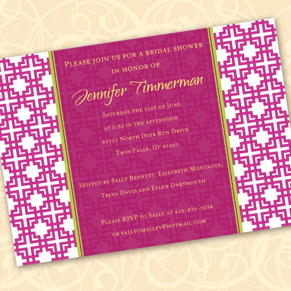 bridal shower invitations, hot pink bridal shower invitations, fuchsia bachelorette party invitations, wedding shower invitations, IN191