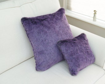 Purple Fur Cushion, Purple Fur Pillow, Purple Throw Pillow, Fur Throw Pillow, Fur Bedding, Fur Accent Cushion, Scandinavian Cushion
