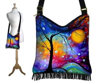 Fermeture à glissière de lune arbre MadArt Hippie sac frange Boho sac Hobo sac à main sac à main en croix corps sac à bandoulière hiver Sparkle bleu violet rouge RTS