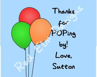 """Balloon Stickers - Sheet of 20 - 2"""" round.  Balloon Birthday Party Favors.  2 Inch Round Balloon Stickers"""