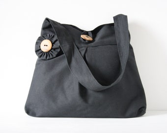 Shoulderbag dark grey cotton