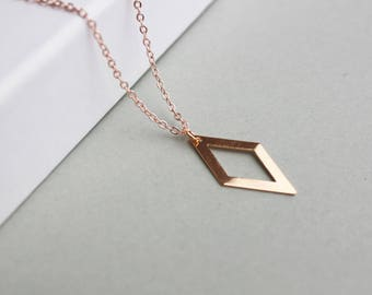 Minimal diamonds rose - gold-plated necklace
