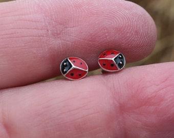 Vintage 6mm 925 Sterling Silver Enamel Ladybug Studs