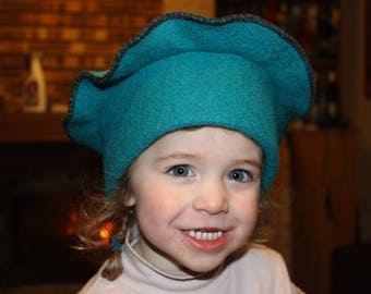 Emerald Green boiled wool beret Hat
