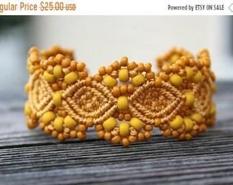 SALE Micro-Macrame Beaded Cuff Bracelet - Golden Yellow