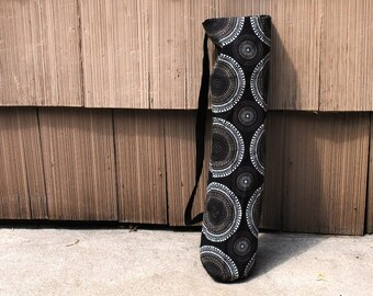 Yoga Mat Tote Bag Black Geometric Cotton Twill
