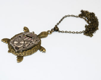 Steampunk turtle pendant Steampunk jewelry Turtle pendant necklace  Steampunk Sea Turtle gift-for-girlfriend gift women gift-for-sister
