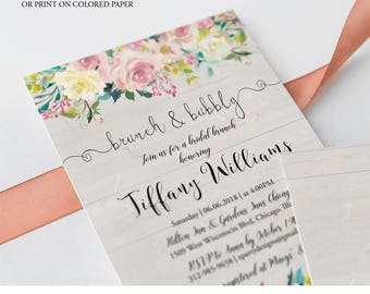 Country Floral Wedding Brunch Invitation Printable, Rustic Floral Brunch and Bubbly Invitation, wedding brunch Invites Printable Template F4