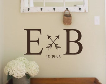 Personalized Initials Est Date and Arrows- Vinyl Wall Decal- Wedding Date- Vinyl Lettering- Words for the Wall- Quotes