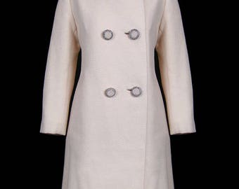 Norman Norell designed wool coat with mink trimmed hem, beaded buttons, 1940s 1950s 1960s designer couture jacket, mod, ivory beige tan