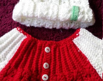 Be Bold,Red and white from the start.. Hat and cardigan set.