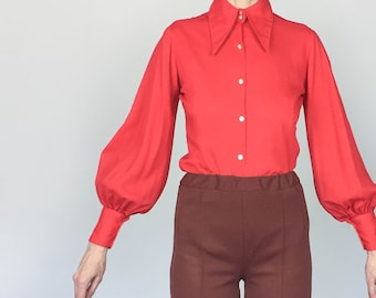1970s Red Bishop Sleeve Blouse (S/M)
