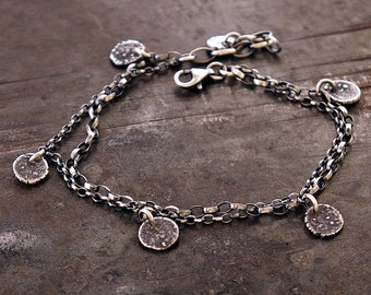 USE CODE - 15OFF • SALE 15% • 925 sterling silver charms chain bracelet • oxidised silver • minimal delicate bracelet everyday