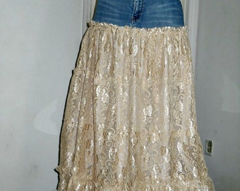 Belle Bohémienne ballroom jean skirt exquisite vintage lace ruffled fairy goddess beach wedding Renaissance Denim Couture  Made to Order