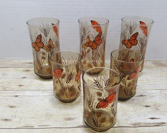 Butterfly Glasses, set of 6, smokey brown glass, 1970s