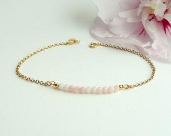 Gemstone Bar Bracelet, Pink Opal Bracelet, Minimalist Bracelet in Sterling Silver, Thin Gold Bracelet, 925 Silver Jewelry