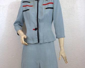 "1940's ""Loretta Original"" Light Blue Military Style Two Piece Women's Suit / Size: 27"" Waist"