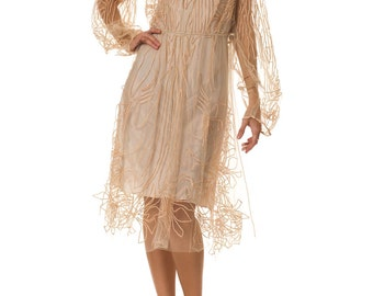 1960s Style Embroidered Net Dress   Size: XS