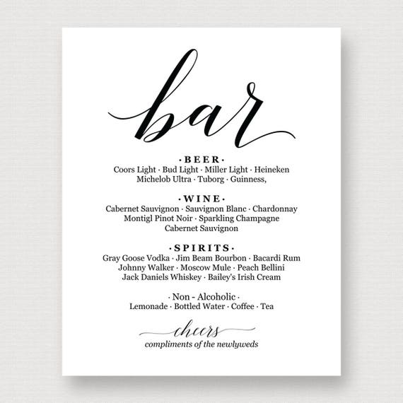 Bar Menu Sign Printable Wedding PrintableBar Template Reception SignHome SignPDF Instant Download