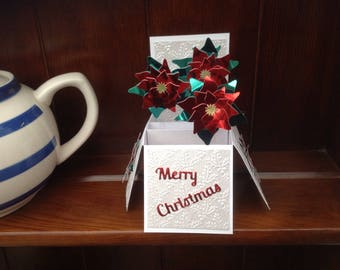Christmas Poinsettia pop u box card