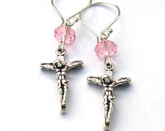 Sterling Silver Crucifix Cross Earrings Dangle for Women Girls
