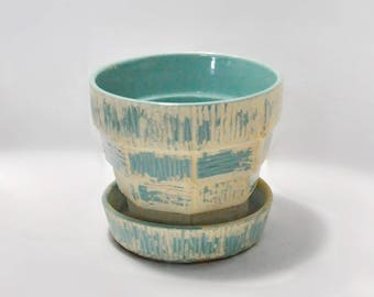 McCoy Pottery Planter Pot Turquoise Blue Green USA American Vintage Pottery Home Garden Decor