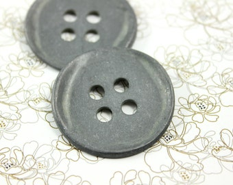 Hardware Metal Buttons - 6 Pieces Of Round Solid Metal Bend Design 4 holes Buttons. 1.38  inch