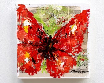 Butterfly painting mixed media Abstract painting for living room decor wall art Oil painting butterfly art as housewarming gift