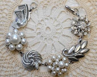 Vintage Earring Bracelet, Silver, Pearls, Bridal Bracelet, Wedding Jewelry, Bridesmaid Gift, Assemblage Bracelet, OOAK Bracelet, Repurposed