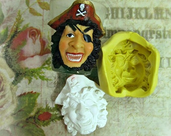 Pirate mold, Silicone mold,push mold, food supplies mold, clay supplies molds, # 29s