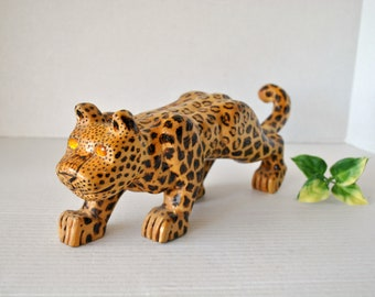 Hand Carved Wooden Leopard Figure Sculpture, Artist Signed, Primitive Wood African Safari Decor Souvenir