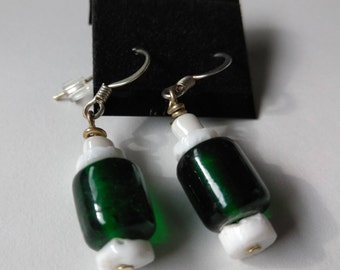 Green Glass and White Shell Earrings on Ear Wires 1 1/4 Long
