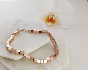 Rose Gold Bracelet. Rose Gold Cube bracelet. Rose Gold Beaded Bracelet. Rose Gold chunky beaded bracelet. Custom initial bracelet