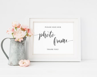 Please Sign Our Photo Frame Sign, Memory Frame Sign, Guest Book Sign, Sign Our Guest Frame, Reception Signs, Photo Frame Signage, Minimalist